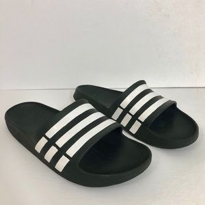 Adidas Slip On Sandals Sliders Black White Striped